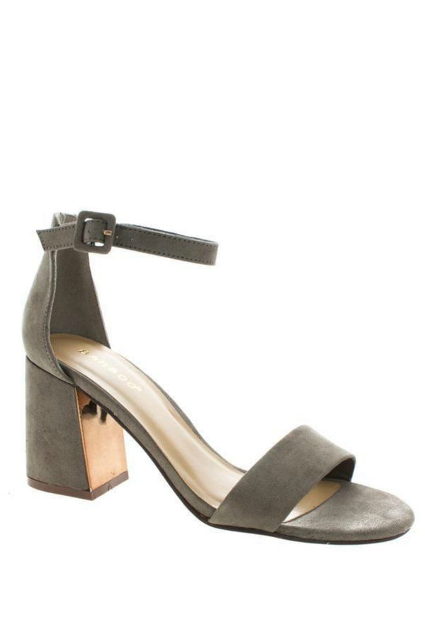 6 / Taupe Open Toe Chunky Gold Detail Heels - Madison + Mallory