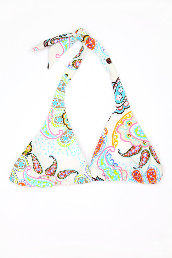 S / White Paisley Halter Bikini Top - Madison + Mallory