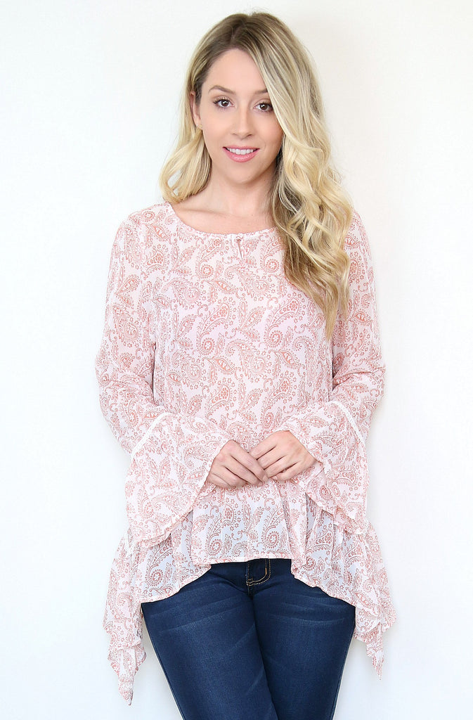 Paisley Drop Waist Blouse