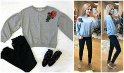 Floral Embroidered Patch Sweatshirt - Madison + Mallory