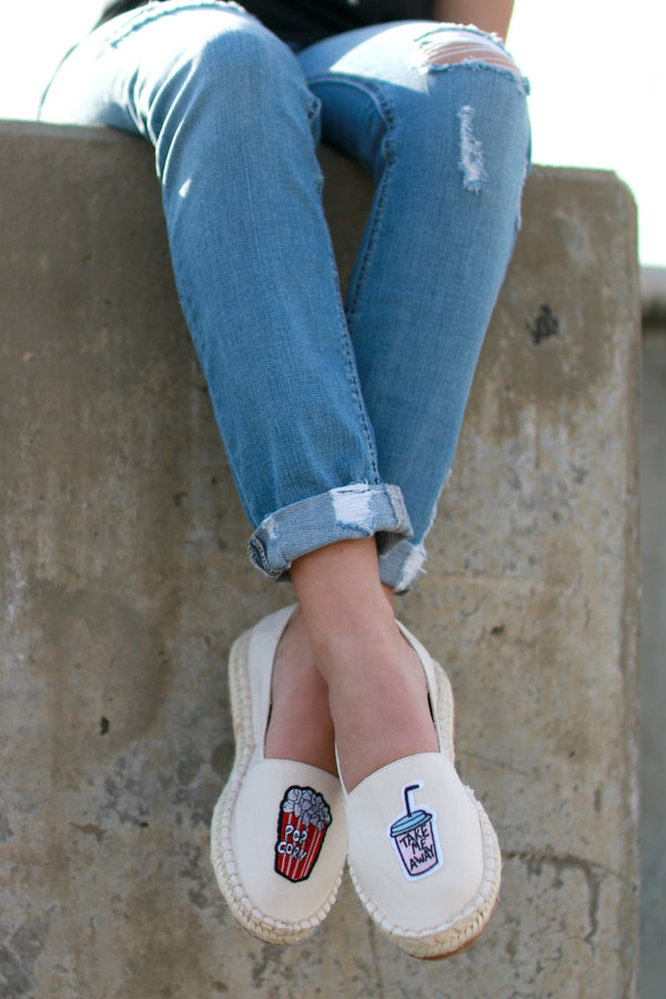 6 / Beige Patched Espadrilles - Madison + Mallory