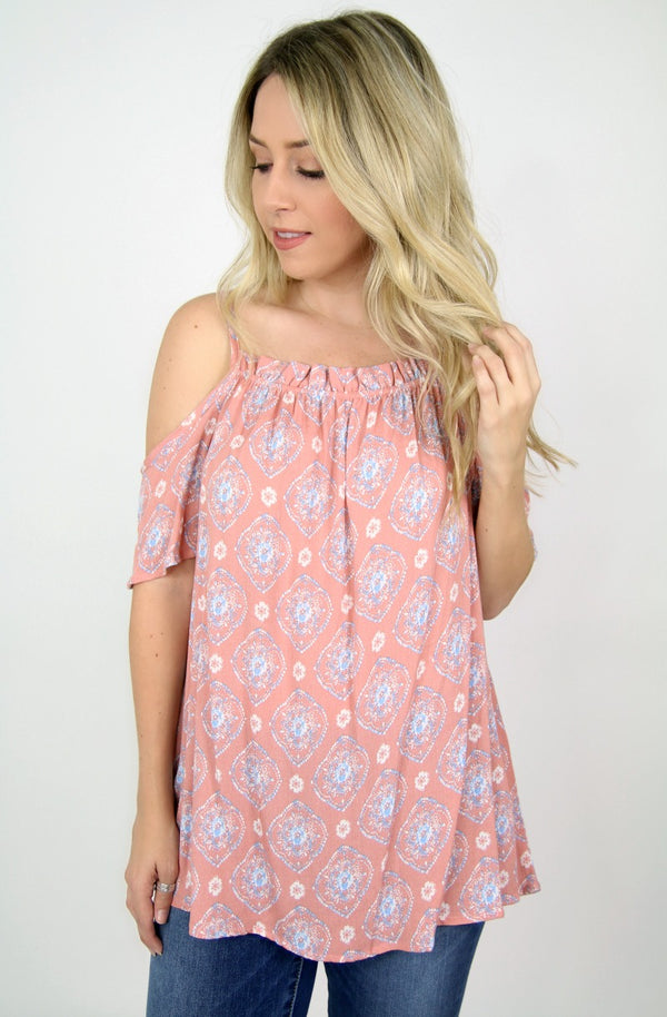 S / Blush Medallion Print Cold Shoulder Top - Madison + Mallory