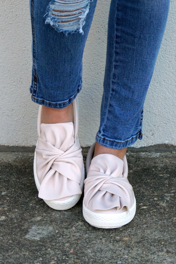 6 / Nude Nude Bow Slip On Shoes - Madison + Mallory