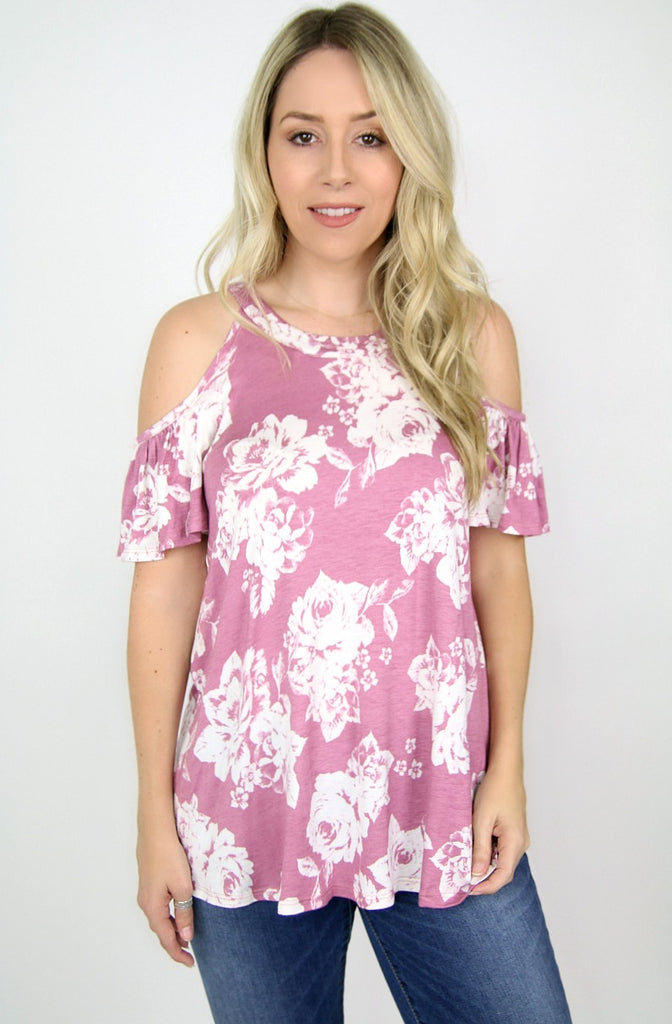 S / Plum Cold Shoulder Ruffle Floral Top - Madison + Mallory