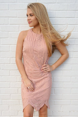 S / Pink Crochet Lace High Neck Dress - Madison + Mallory