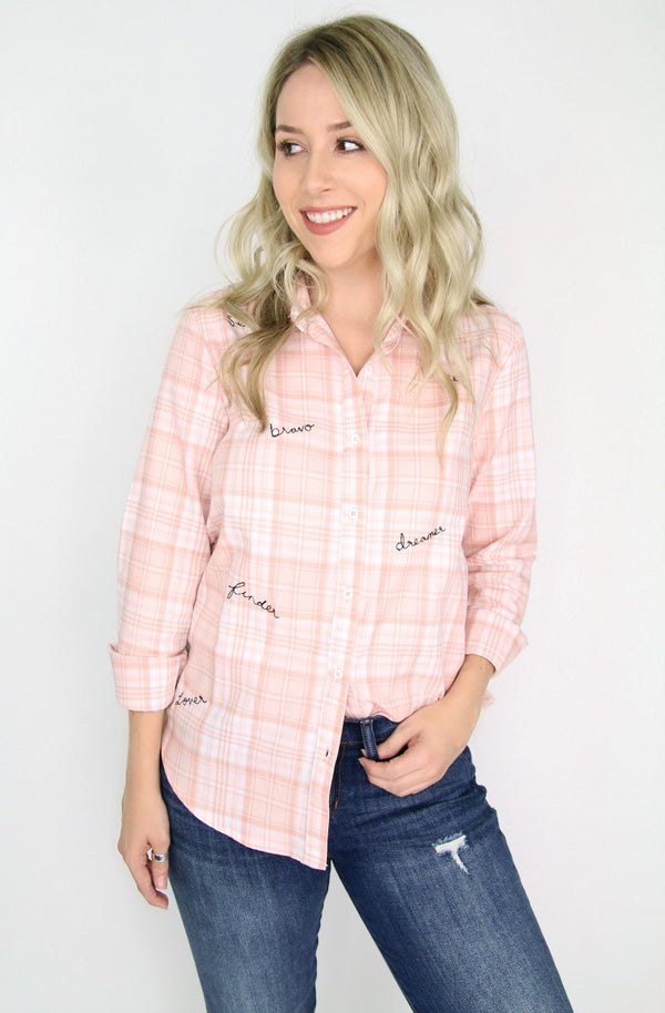 S / Pink Inspire Me Button Down - FINAL SALE - Madison + Mallory
