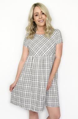 31e4e39a20 S   Ivory Black Plaid Babydoll Dress - Madison + Mallory