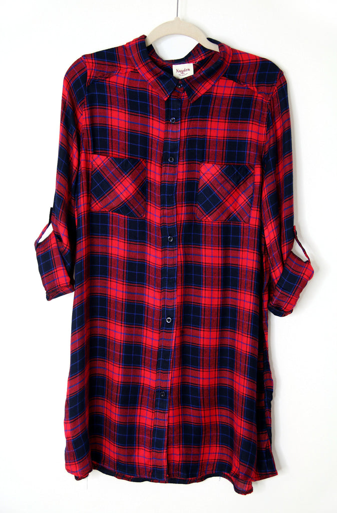 Plaid Button Up Tunic | Curve