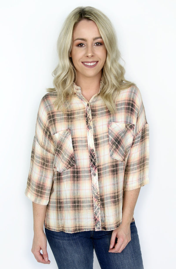 S / Vintage Peach Button Up Plaid Shirt - Madison + Mallory