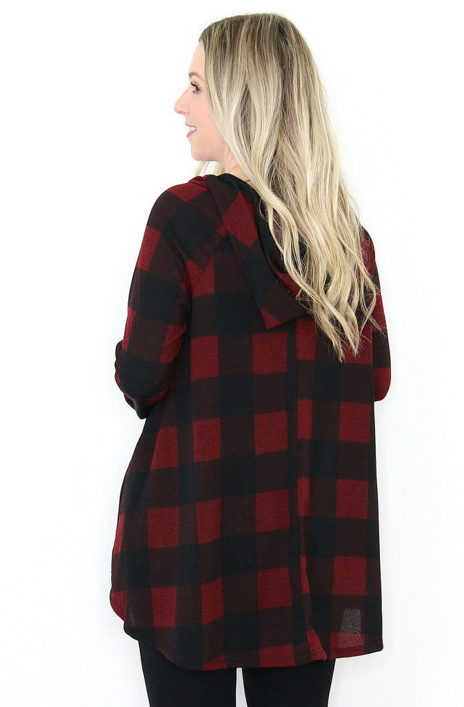 Plaid Lace-Up Hoodie