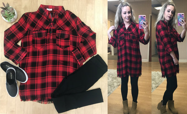 S / Red/Black Plaid Raw Edge Tunic Red - Madison + Mallory