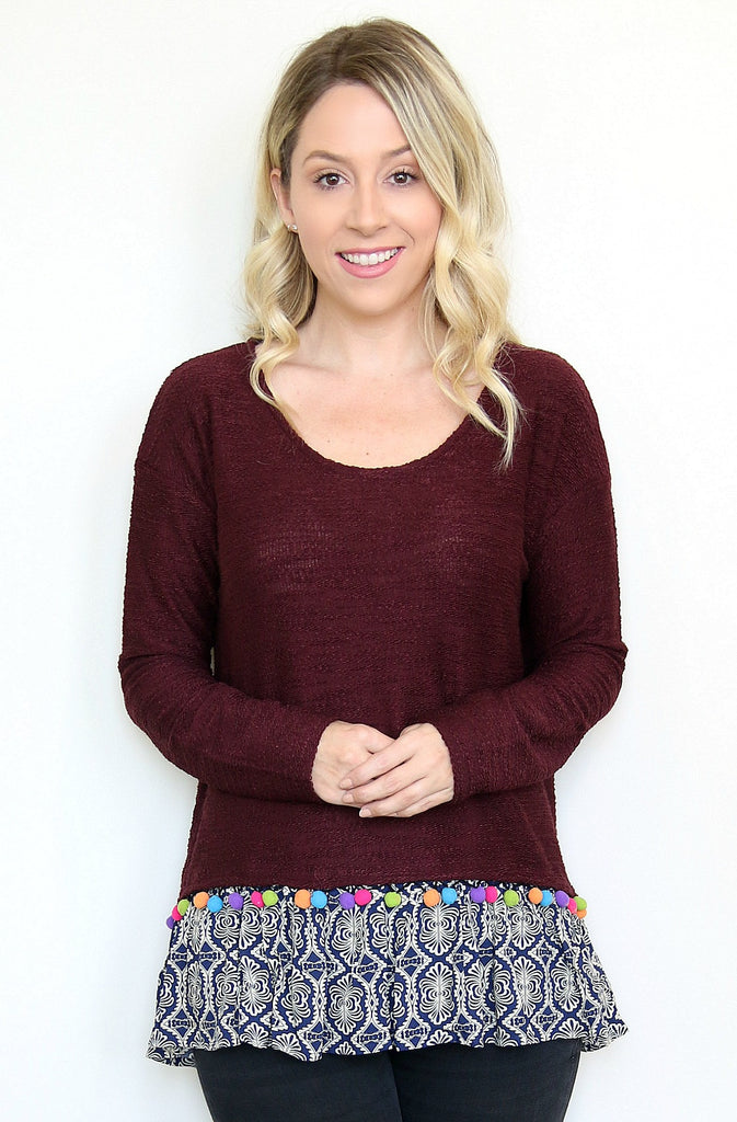 Pom Pom Layered Sweater