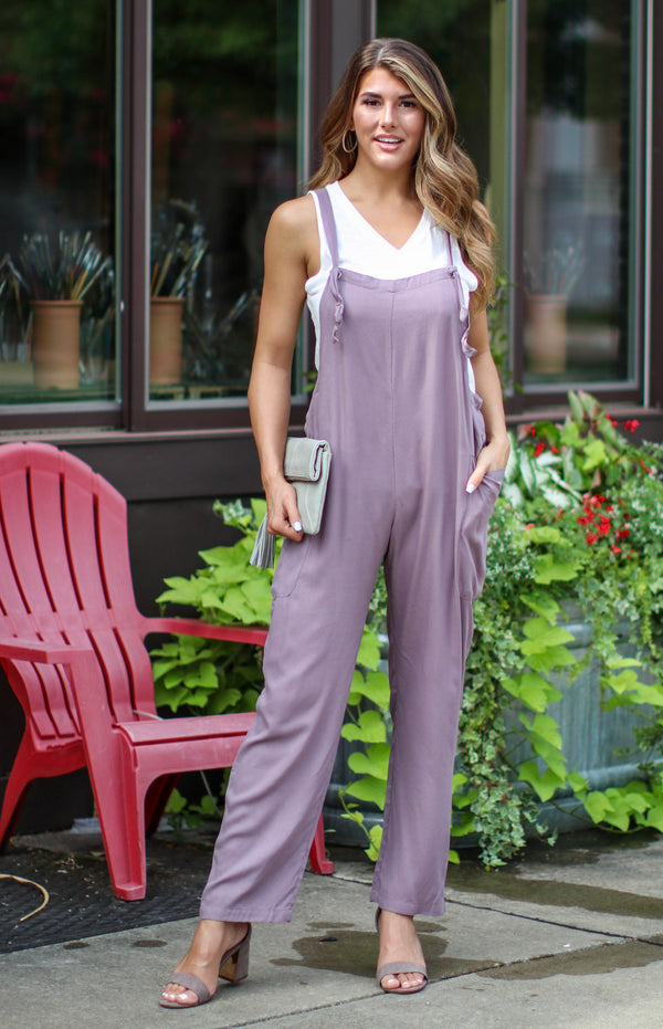 Little Town Knot Strap Overall Jumpsuit - FINAL SALE - Madison and Mallory