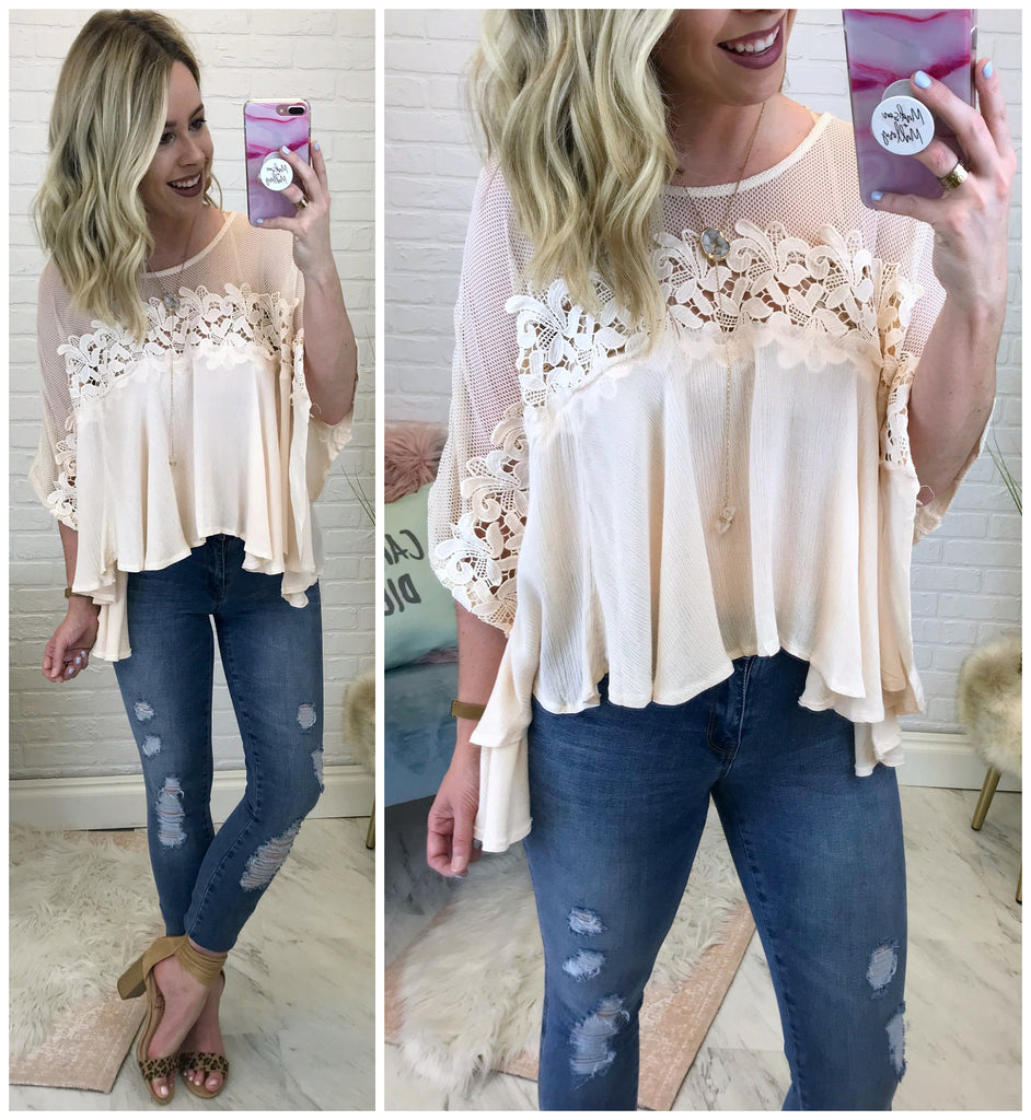 S / Blush Maya Crochet Top - Madison + Mallory