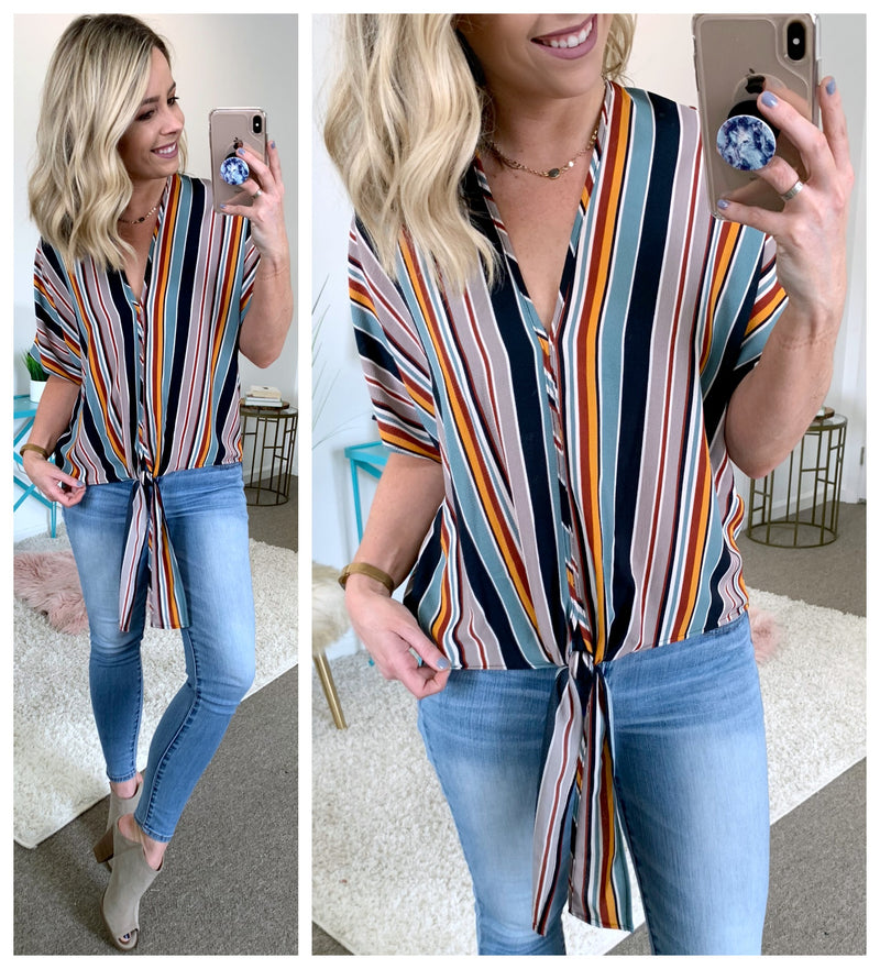 Malia Striped Tie Front Top - Madison + Mallory