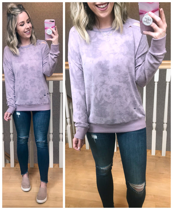 Mineral Washed Distressed Sweatshirt - Madison + Mallory