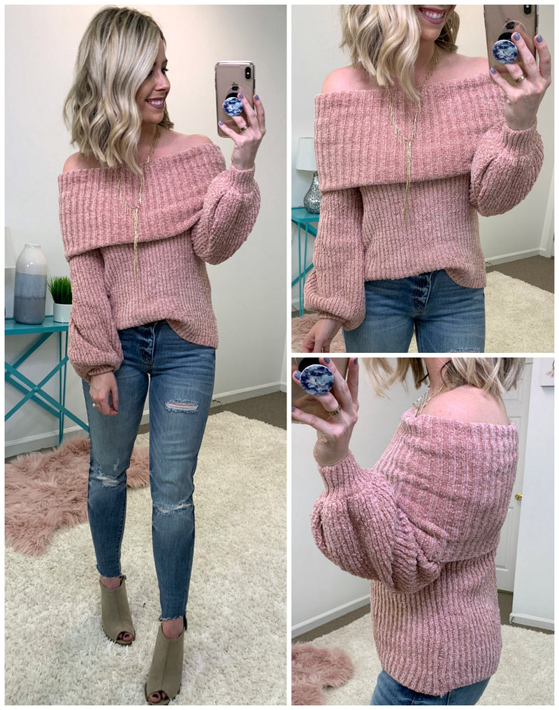 Ashton Off Shoulder Chenille Sweater - Madison + Mallory