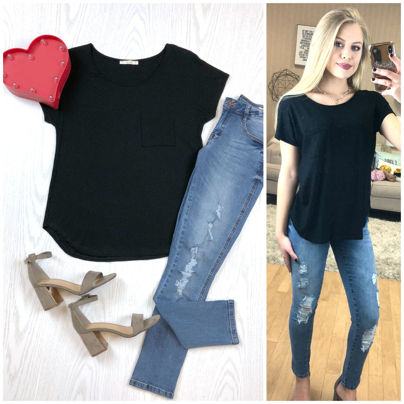 Black Rib Knit Relaxed Tee - Madison + Mallory