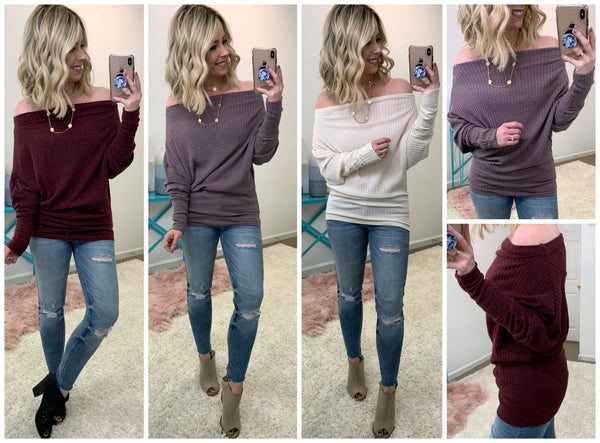Knit Ribbed Multi Way Sweater - Madison + Mallory
