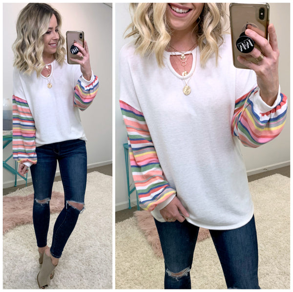 Rainbow Connection Printed Sleeve Top