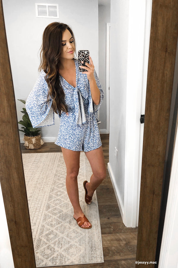 Lahela Floral Bell Sleeve Romper - Madison and Mallory