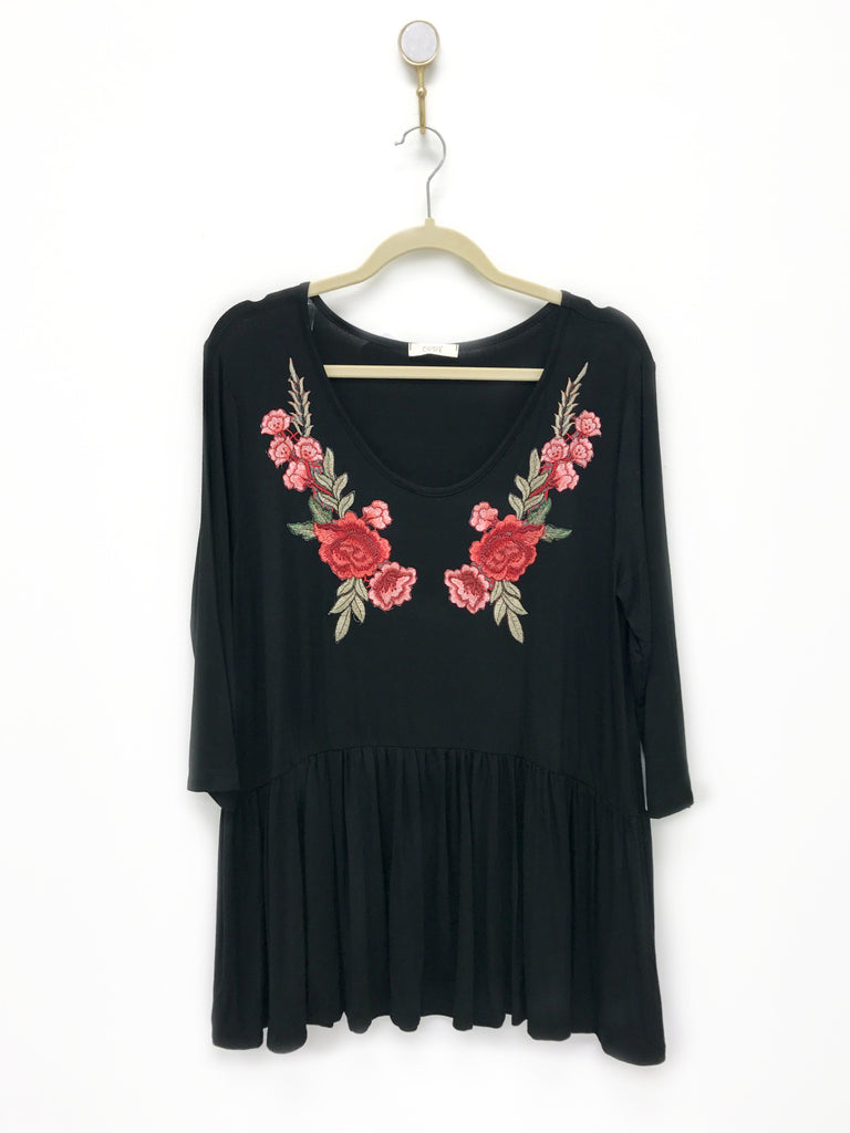Rose Patch Embroidered Top | Curve
