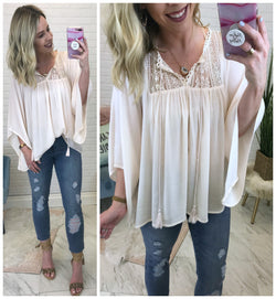 Adley Flowy Lace Tassel Top - Madison + Mallory