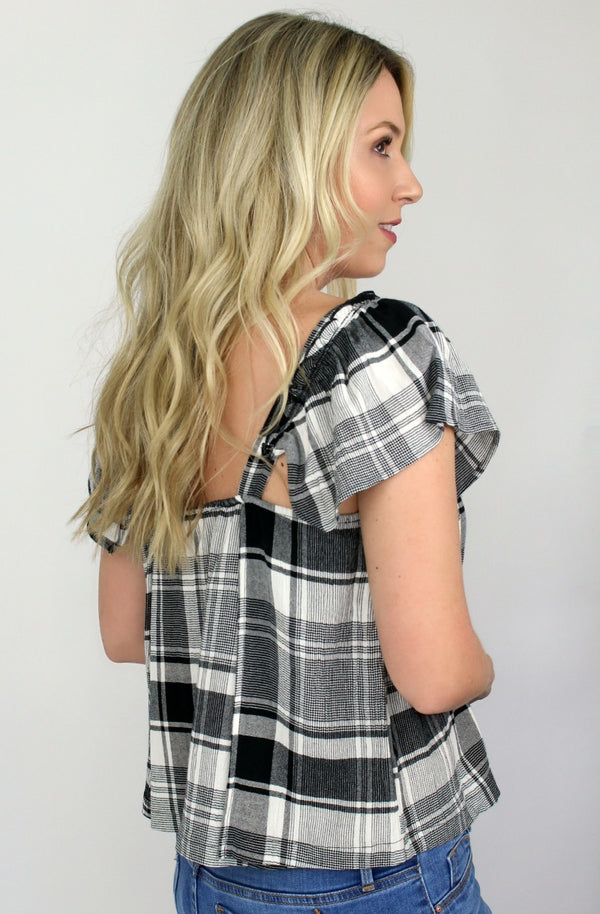 Ruffle Plaid Top - Madison + Mallory