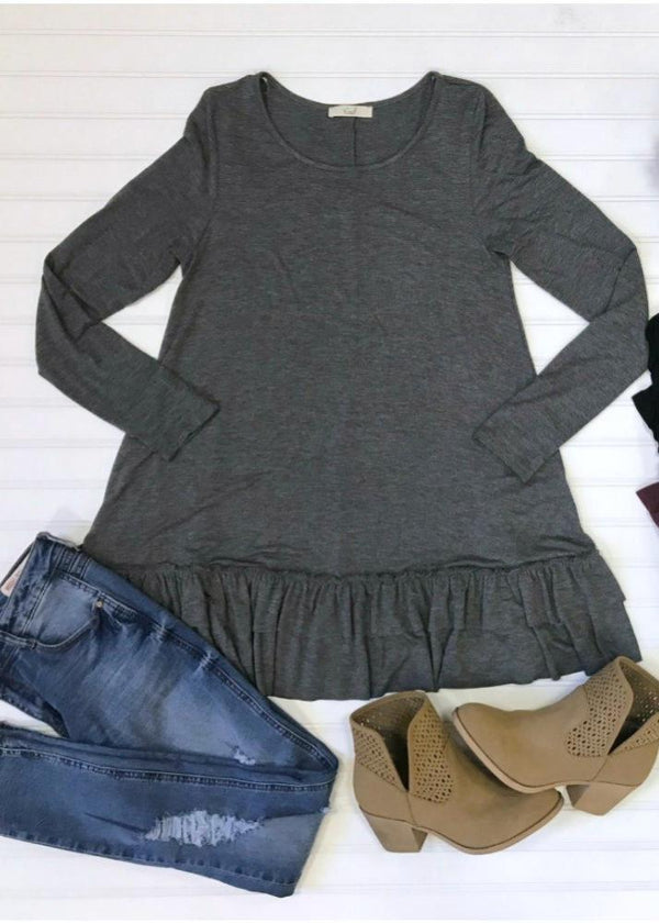 Gray / 1X Long Sleeve Ruffle Hem Tunic Top - Madison + Mallory
