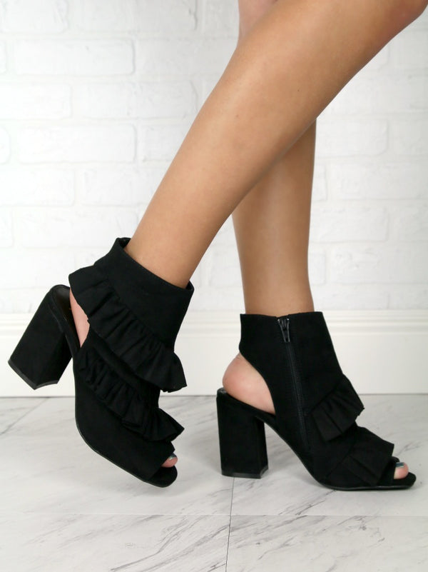 6 / Black Ruffled Peep Toe Booties - Madison + Mallory