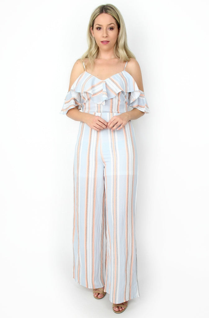 ruffle striped jumpsuit