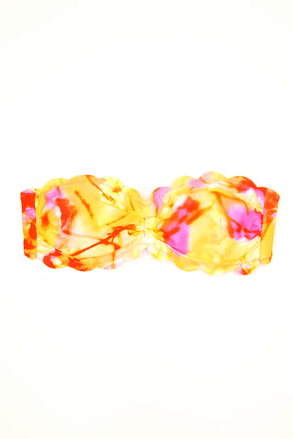 S / Tie Dye Tie Dye Scalloped Bikini Top - Madison + Mallory