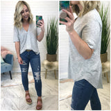 Short Sleeve V-Neck Knit Top - Madison + Mallory