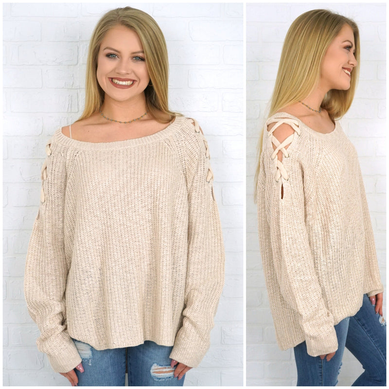 Shoulder Tie Detail Sweater - Madison + Mallory