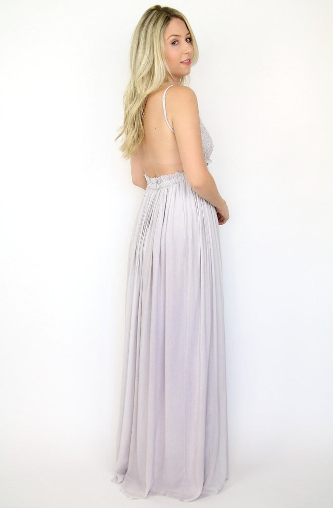 Open Back Crochet Maxi Dress