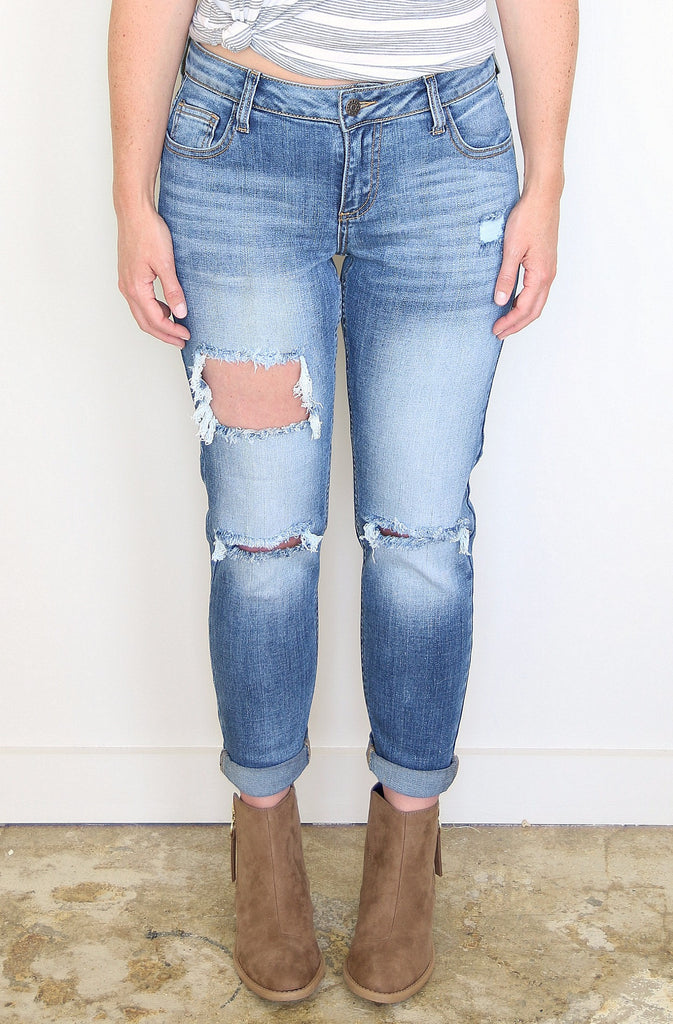 Cut Out Faded Skinny Boyfriend Jean