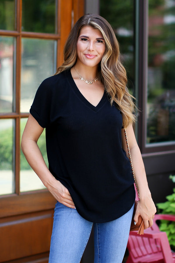 Black / S Sophia V-Neck Top - Black - Madison + Mallory