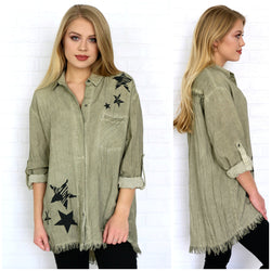 Star Print Button Down Raw Edge Tunic Top - Madison + Mallory
