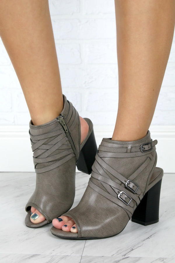 Buckled Peep Toe Heeled Booties - Madison + Mallory