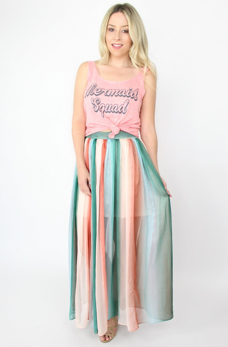 S / Peach Ombre Ombre Maxi Skirt - Madison + Mallory