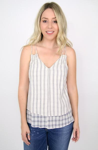 Double Strap Plaid Flowy Tank
