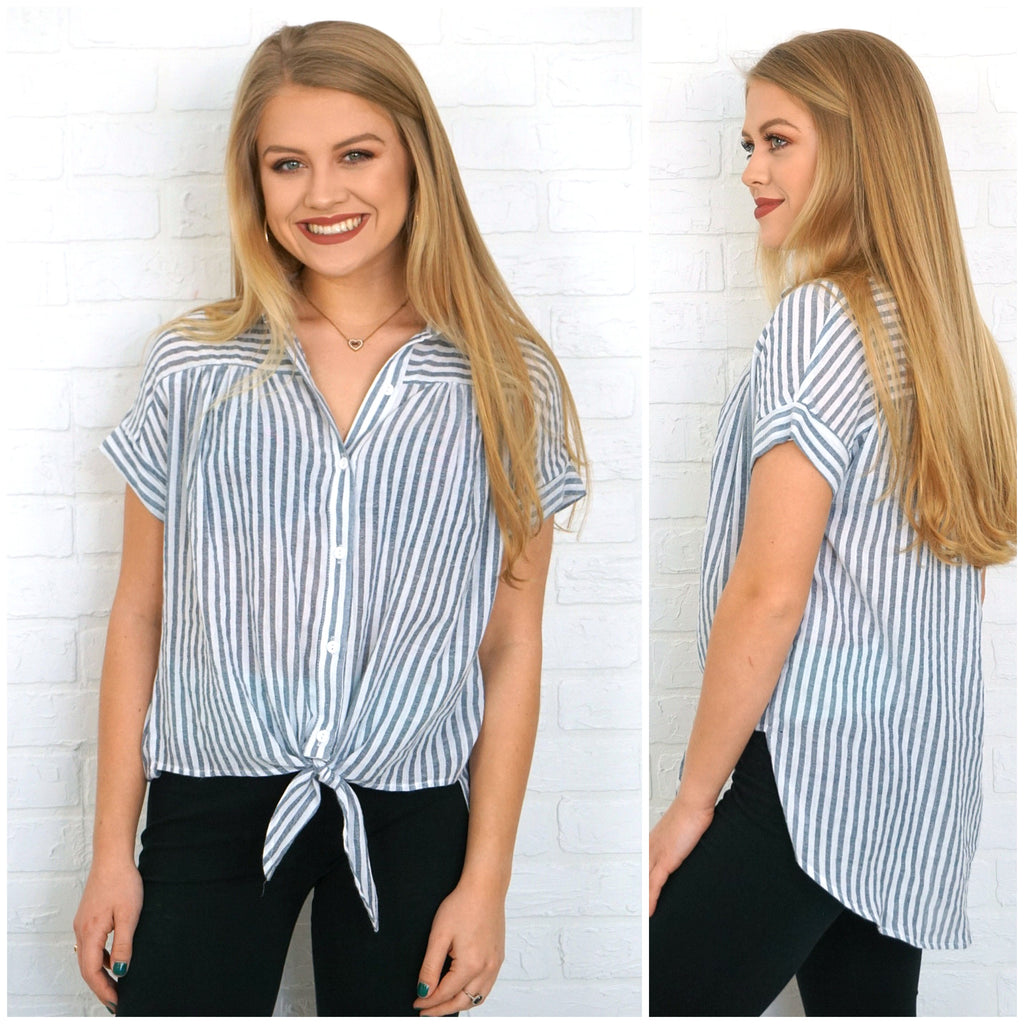 Button Down Tie Front Stripe Top - Madison + Mallory