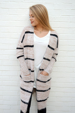 S / Oatmeal Fuzzy Knit Striped Cardigan + MORE COLORS - Madison + Mallory