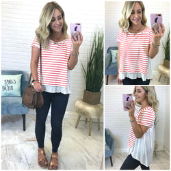 Striped Layered Mixed Top - Madison + Mallory