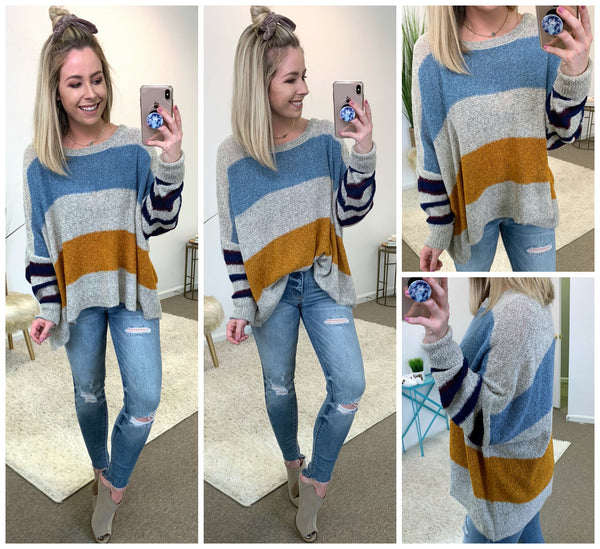 Shelby Striped Sweater - Madison + Mallory