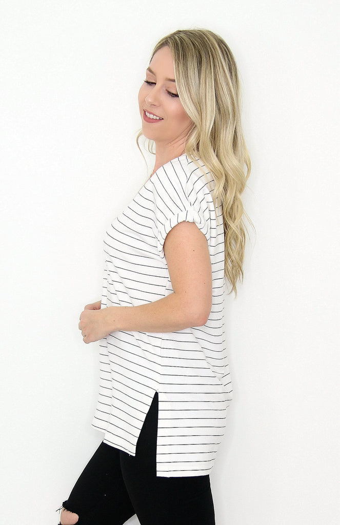 Striped V-Neck Top