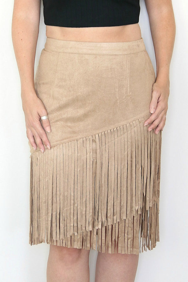 S / Camel Faux Suede Fringe Skirt - Madison + Mallory