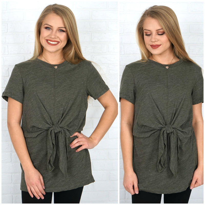 Front Tie Knit Tunic Top - Madison + Mallory