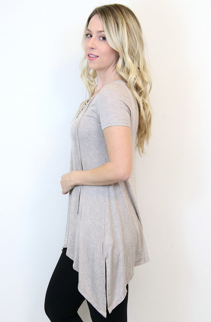 Lace Up Linen Trapeze Top