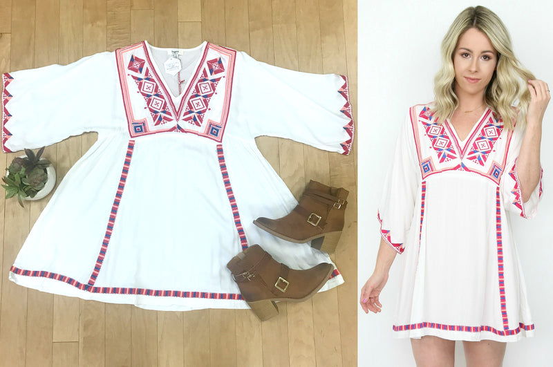 S / White White Embroidered Bell Sleeve Dress - Madison + Mallory